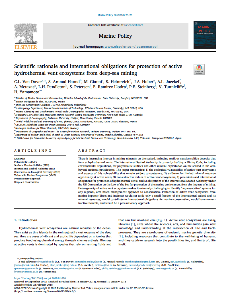 Scientific rationale and international obligations for protection of active hydrothermal vent ecosystems from deep-sea mining